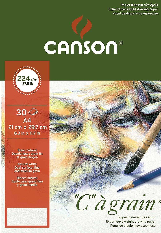 Canson 400060602 C a grain Zeichenpapier, A3, naturweiß naturweiß