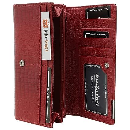 Elegante monedero para dama, 100% cuero, con broche a presión marca JENNIFER JONES (rojo)
