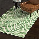 Rivet Modern Geometric Area Rug, 5 x 8 Foot, Green