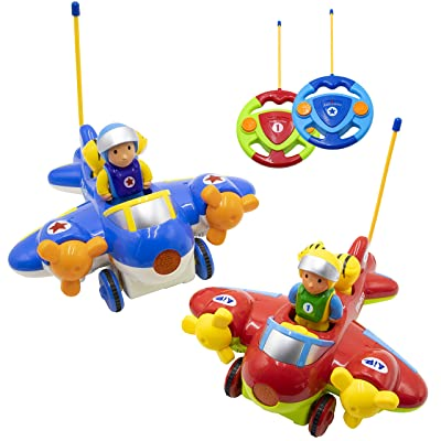 Hautton RC Cartoon Toy Race Car, 2 Pcs 2-Channel Remote Control Airplane Electric Radio Toy Vehicle with Removable Pilot, Music and Lights, Educational Learning Toys for Toddlers, Baby, Kids, Children: Toys & Games