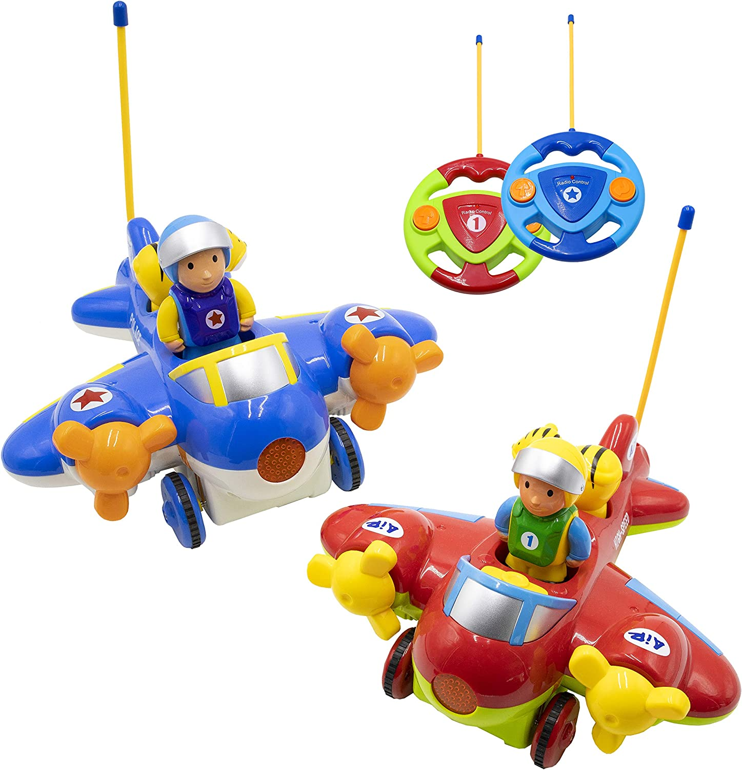 Remote Control 2 Channel Cartoon Airplane Music /& Light /& Sound Educational Toy@