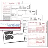Tangible Values 1099 Misc Laser Forms (4-Part) Kit with Env for 50 Vendors + 3 Form 1096's (2017)