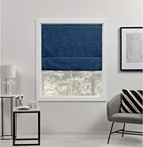 Exclusive Home Curtains Acadia Total Blackout Roman Shade, 31x64, Chambray Blue