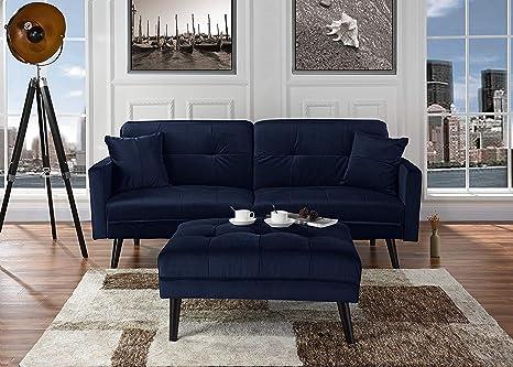 Amazon Com Microfiber Futon Loveseat Sofa Couch With Chaise