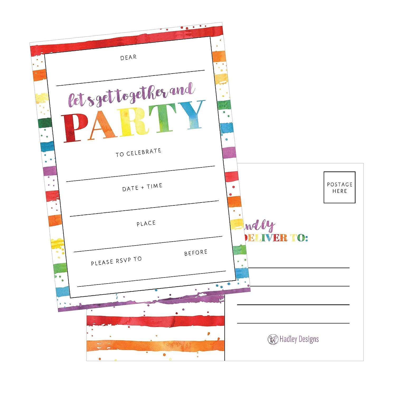 Buy 25 Art Stripe Rainbow Party Invitations For Kids Teens