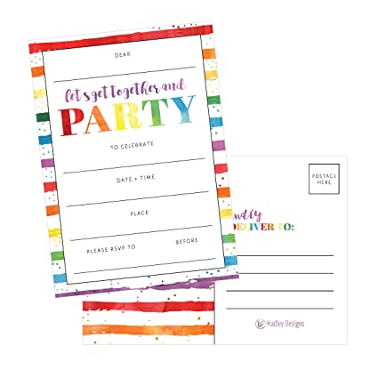Amazon 25 art stripe rainbow party invitations for kids teens 25 art stripe rainbow party invitations for kids teens adults boys girls stopboris Images