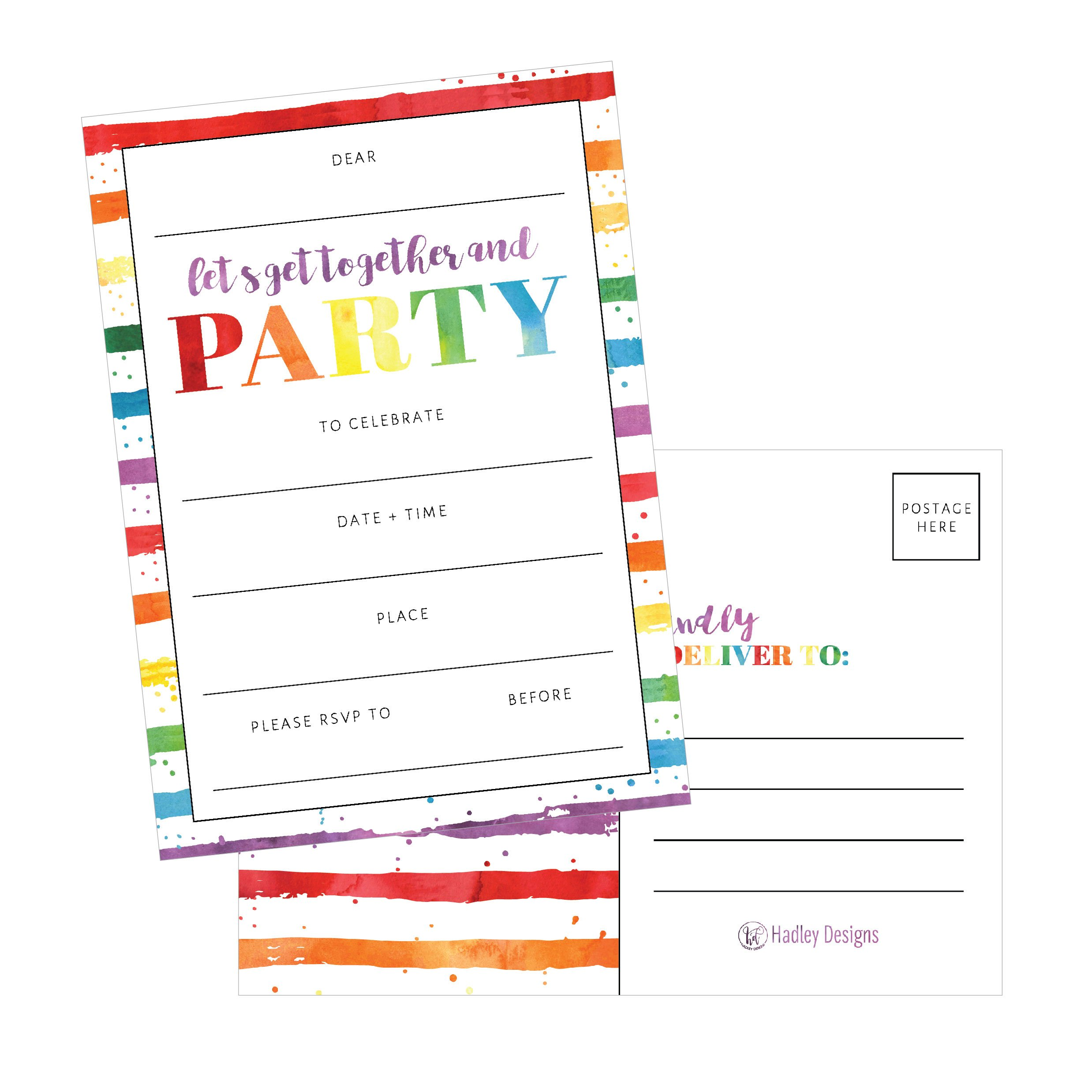25 Art Stripe Rainbow Party Invitations for Kids, Teens, Adults, Boys & Girls, Blank Children Happy 1st Birthday Invitation Cards, Unique Baby First Bday Invites Toddler 1 2 3 Year Old Invites Fill In