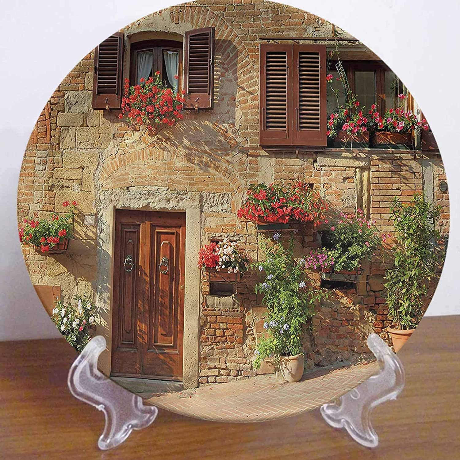 LCGGDB 10 Inch Tuscan Pattern Ceramic Hanging Decorative Plate,Mediterranean Architecture Tableware Plate Ceramic Ornament for Home&Office Wall Decors Family Sentiment