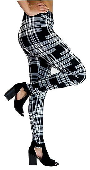 f7237dac7 Toto Beau Women Plus Size Leggings 10-18 Black Plaid Print Tights Soft  Stretchy Pants  Amazon.ca  Clothing   Accessories