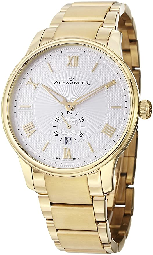 Alexander Statesman Regalia Bracelet Wrist Watch for Men - Silver White Dial Date Small Seconds Analog Swiss Watch - Stainless Steel Plated Yellow Gold Watch - Mens Designer Watch A102B-03
