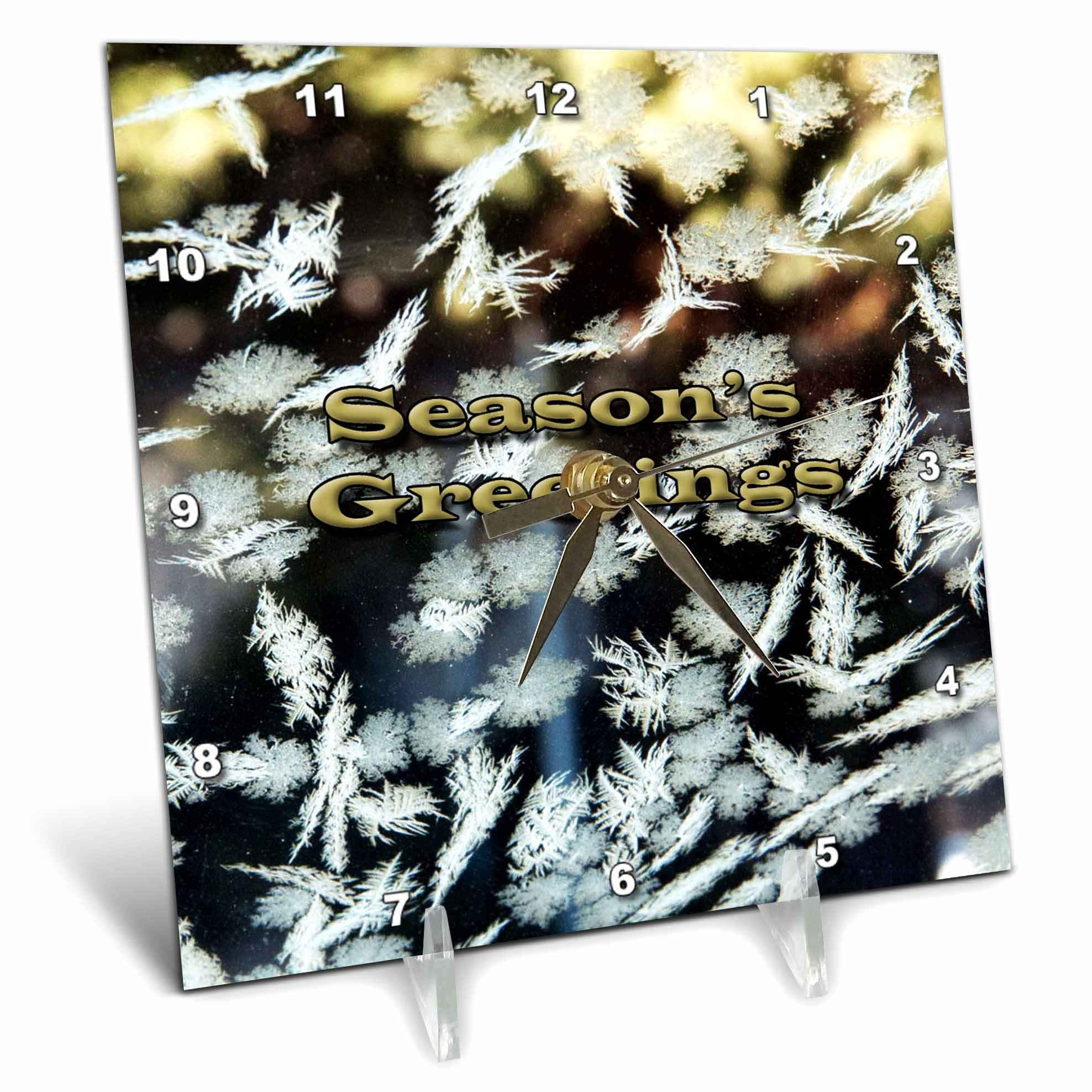 3dRose Jos Fauxtographee- Seasons Greetings - Seasons Greetings written on some snowflakes frozen to window - 6x6 Desk Clock (dc_263357_1)