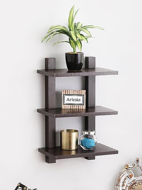 Artesia Wall Shelf with 3 Shelves (Brown)