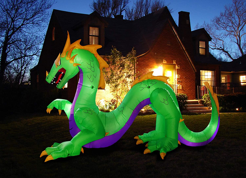 inslife Huge 14 Ft Inflatable Dragon Decoration for Halloween Light up