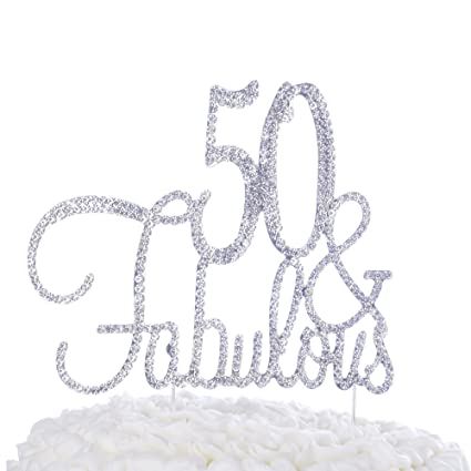 Ella Celebration 50 Fabulous Cake Topper For 50th Birthday Party Decoration Supplies Cursive Silver