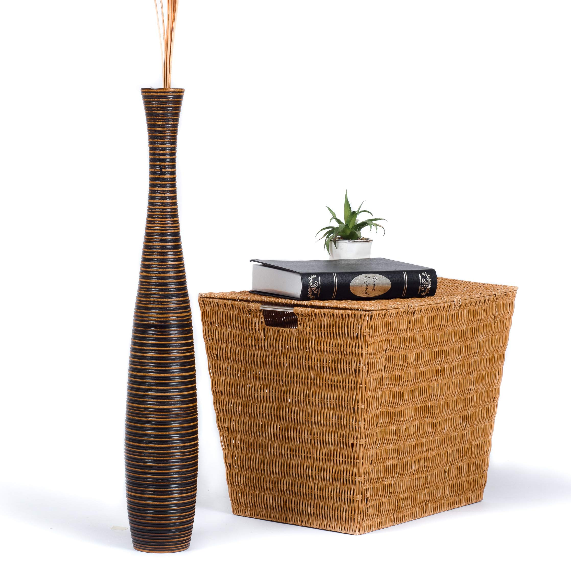 Leewadee Tall Floor Vase 5x30 Inches Holz Braun