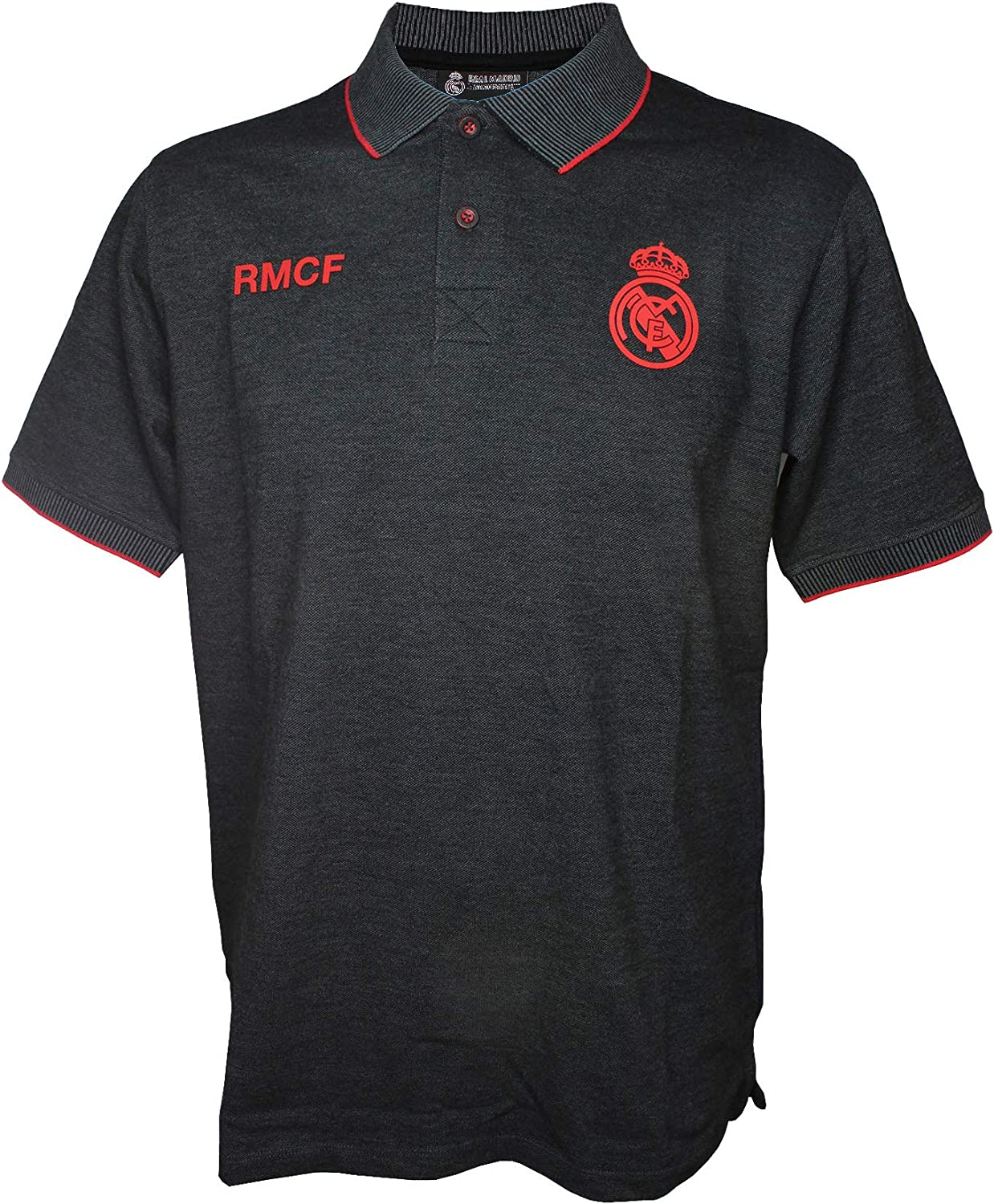 Real Madrid FC Polo Oficial Hombre Negro/Rojo (XL): Amazon.es ...