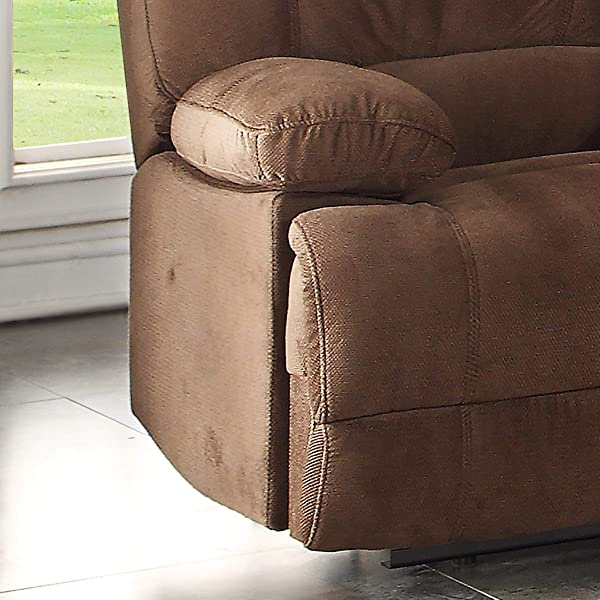 Christies Home Living Kevin Fabric Contemporary Reclining Loveseat with Storage Console, Brown