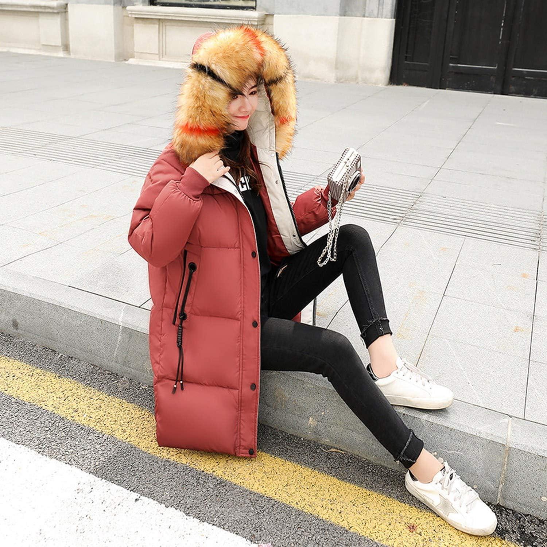 aliennoun&Cappotti Inverno Pieno Cotone Imbottito Donna Middle Slim Giacca Grande Collo Di Capelli Signora, Vedi Grafica, L A Tinta Unita