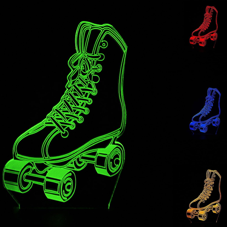 3dローラースケート夜ライトテーブルデスクOptical Illusionランプ7色変更ライトLEDテーブルランプXmasホームLove Brithday子供キッズ装飾おもちゃギフト B07CBRF6G4 21621