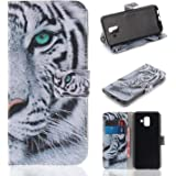 """StarryON Samsung Galaxy A6 2018 5.6"""" Flip Wallet Case PU Leather Magnetic Buckle Mobile Cover Coloured Drawing Pattern Cell Phone Kickstand Case Credit Card Slot(White Tiger)"""
