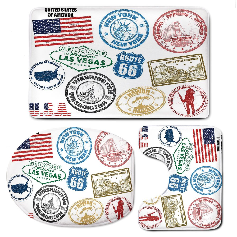 3 Piece Bath Mat Rug Set,United-States,Bathroom Non-Slip Floor Mat,Grunge-Stamps-of-America-Las-Vegas-New-York-San-Francisco-Hawaii-Illustration,Pedestal Rug + Lid Toilet Cover + Bath Mat,Multicolor