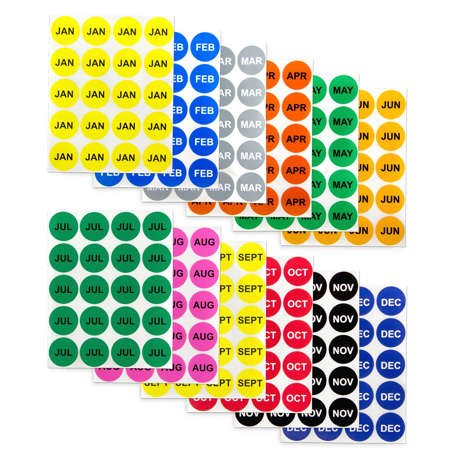 12 Months of the Year Labels Color Coding Dot Round Self Adhesive Stickers (1'' Round Dot Stickers) - 300 stickers per Month - 3600 stickers total by OfficeSmartLabels (Image #1)