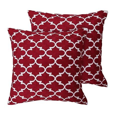Deconovo Fundas de Cojines Decorativas 100% Algodón Bordadas con Marroquíes Juego de 2 Piezas para Sofas Sillas con Cremallera Oculta 45 x 45 cm Rojo
