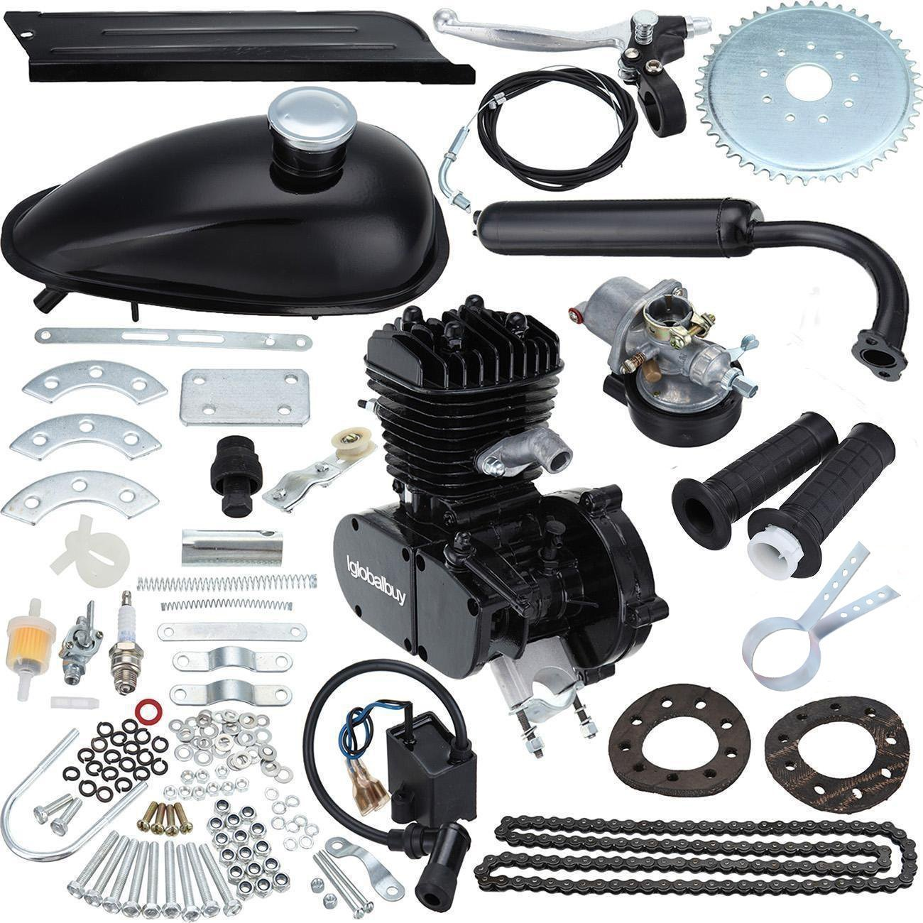 Iglobalbuy 80CC Petrol Gas Motor Bicycle Engine Complete Kit Motorized Bike 2-Stroke (black)