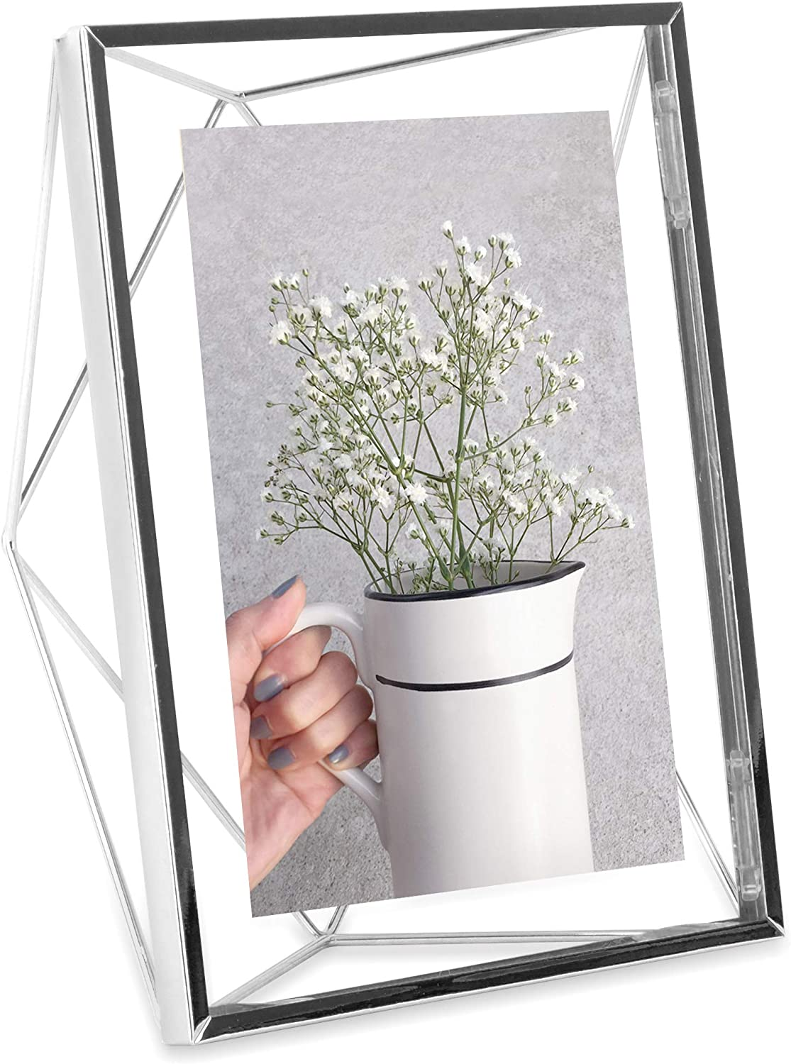 Umbra Prisma Picture Frame, 5 x 7 Photo Display for Desk or Wall, Chrome