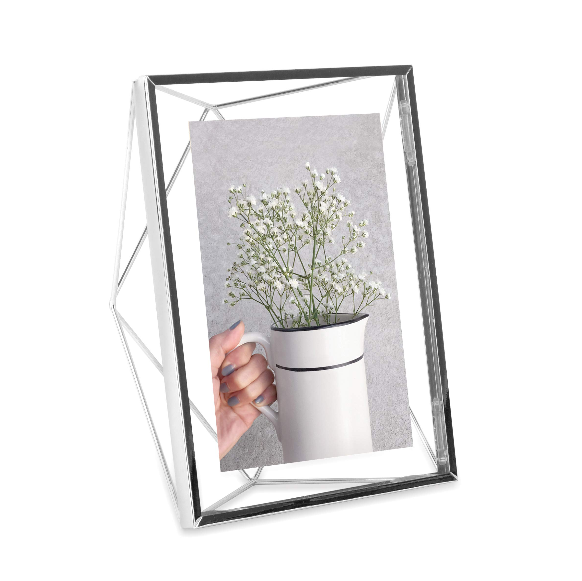 Umbra Prisma Picture Frame, 5x7 Photo Display for Desk or Wall, Chrome by Umbra