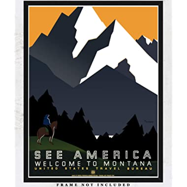 See America Welcome to Montana WPA Poster Art Print: Unique Room Decor for Boys, Girls, Men & Women - (11x14) Unframed Picture - Great Gift Idea