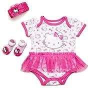 Hello Kitty Baby Girls' 3 Piece Gift Box with Tutu Onesie, Headband & Bootie Socks (Bright White)