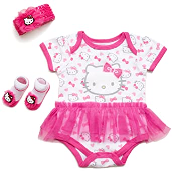 5938e13ec Hello Kitty Baby Girls' 3 Piece Gift Box with Tutu Onesie, Headband & Bootie