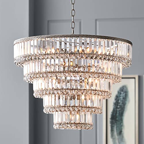 Magnificence Satin Nickel Chandelier 24 1/2″ Wide Faceted Crystal Gla