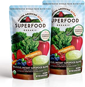 Grown American Superfood Ultra Organic Whole Fruits and Vegetables Concentrated Green Powder Antioxidants 100% Certified Organic and Vegan Non-GMO (2)