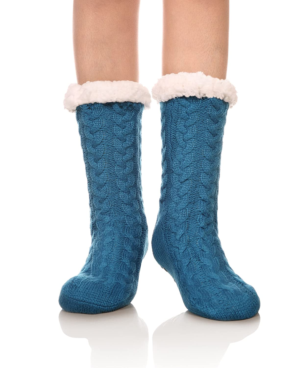 DOFUN Womens Girl Soft Knee High Warm Winter Fuzzy Fleece Lined Slipper Socks