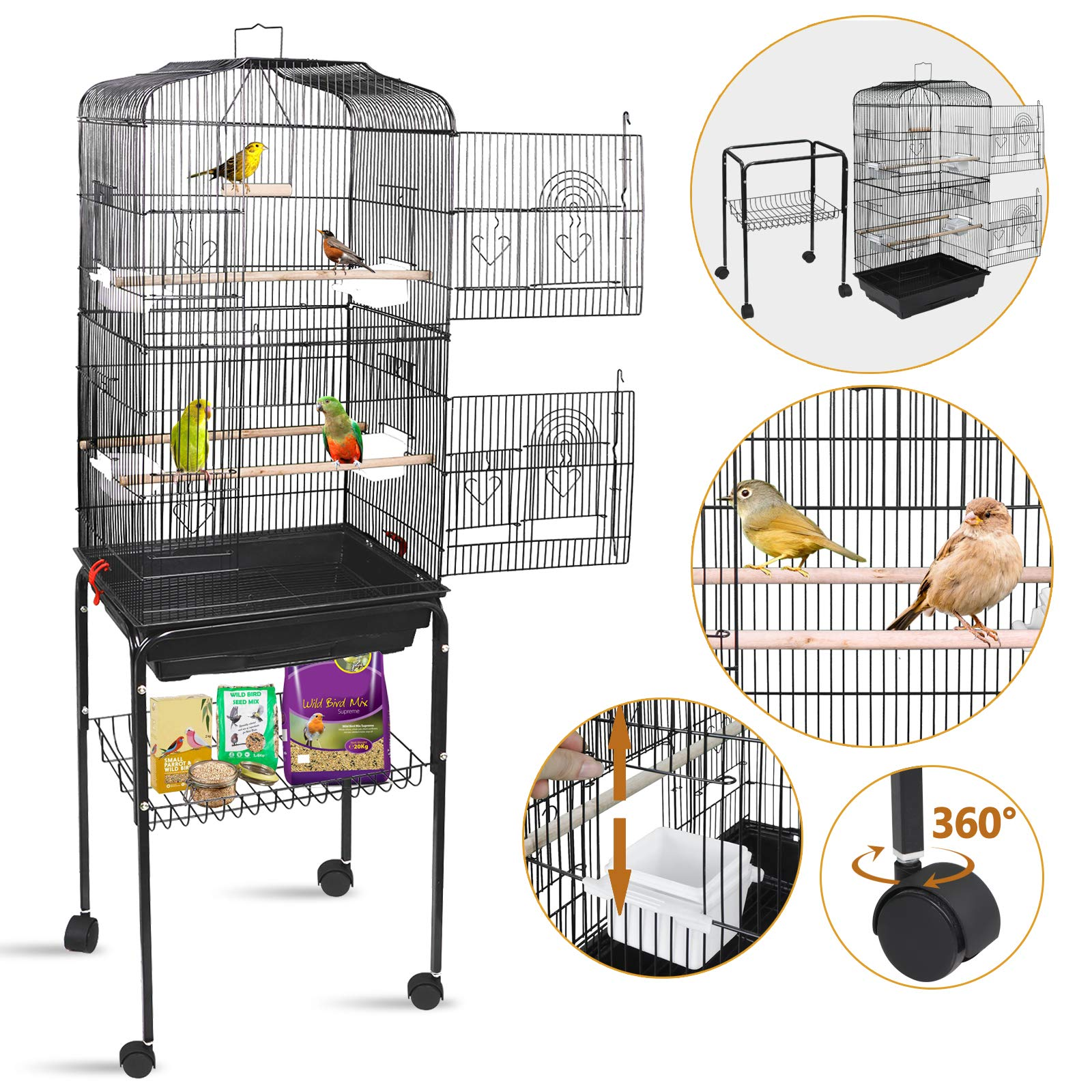 SUPER DEAL 59.3''/53'' Rolling Bird Cage Large Wrought Iron Cage for Cockatiel Sun Conure Parakeet Finch Budgie Lovebird Canary Medium Pet House with Rolling Stand & Storage Shelf (59.3'') by SUPER DEAL