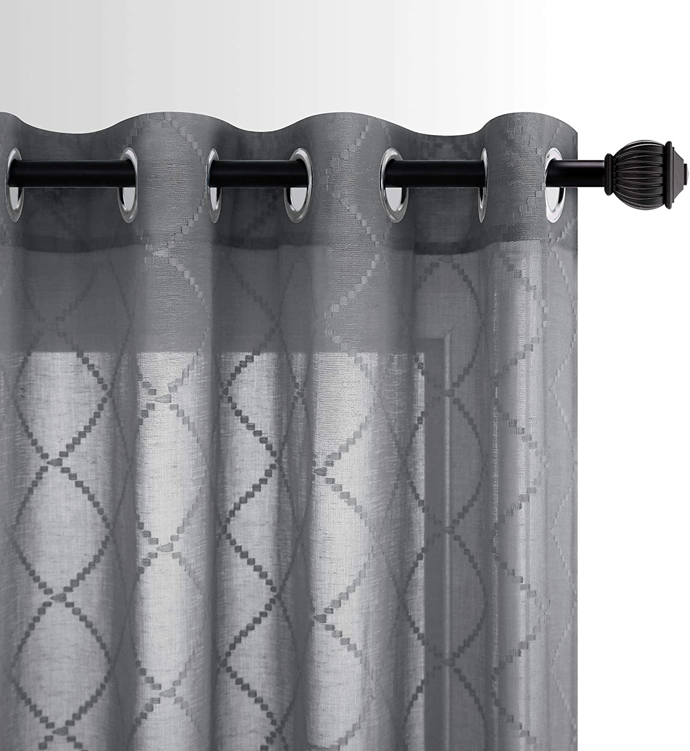 Grey Sheer Curtains 95 Inches Long for Living Room Set 2 Panels Semi Voile Drapes Quatrefoil Patterned Gray Embroidered Grommet Window Curtains for Bedroom Man Home Office Dark Charcoal 52x95 Length