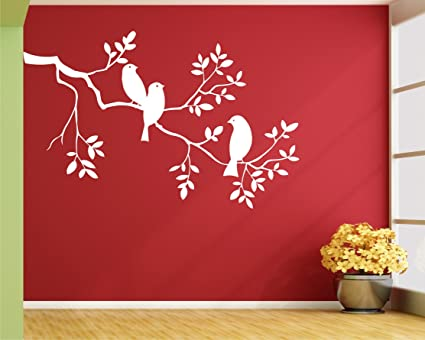 Buy Wall Guru Bird On Tree White Wall Decal And Vinyl Wall Stickers Size  (59 X 91) Cm Online at Low Prices in India - Amazon.in 2a81f634f0