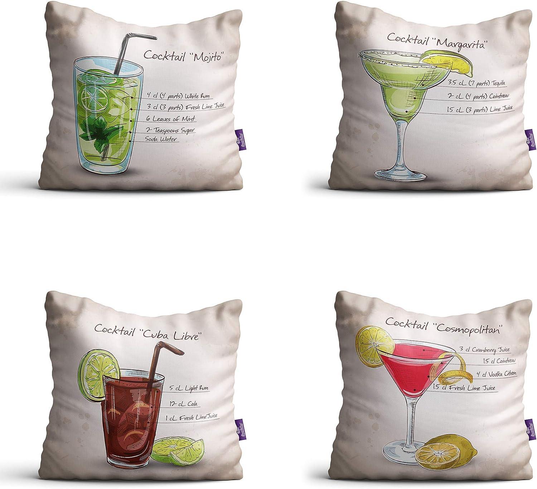 Capas de Almofadas com Frases Drinks Bege 35x35cm Kit 4un