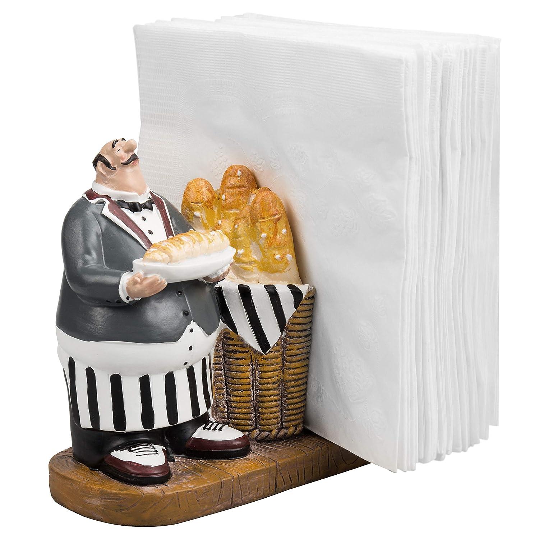 Tableop 5 x 5 inch Resin Chef & Baguette Design Figurine Decorative Napkin Holder