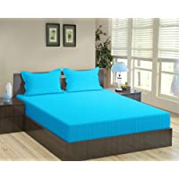 "Trance Home Linen 100% Cotton 210 TC King Fitted Bedsheet 78"" * 72"" with 2 Pillow Covers (Aqua Turquoise)"