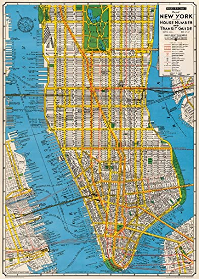 Amazon.com: Cavallini & Co. New York City Map Decorative Decoupage ...