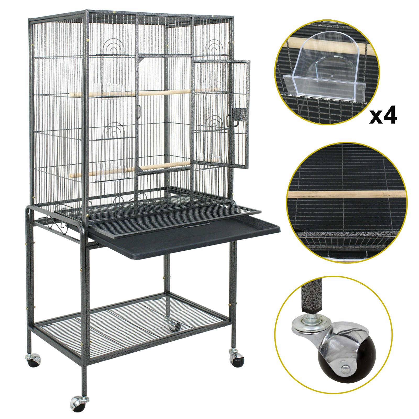 Nova Microdermabrasion 53'' Large Bird Cage Parrot Cockatiel Parakeet Macaw Cage W/Stand Perch Wrought Iron Pet Supplies by Nova Microdermabrasion