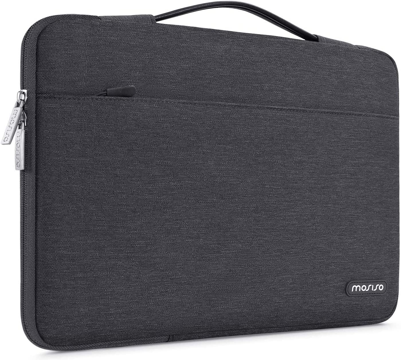 MOSISO Laptop Sleeve 360 Protective Case Bag Compatible with 13-13.3 inch MacBook Pro, MacBook Air, Notebook Computer, Polyester Briefcase with Trolley Belt, Space Gray