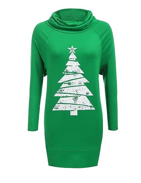 1d6113638d Zeagoo Women Cowl Collar Raglan Sleeve Solid Loose Pullover Hoodie Dress  (Small