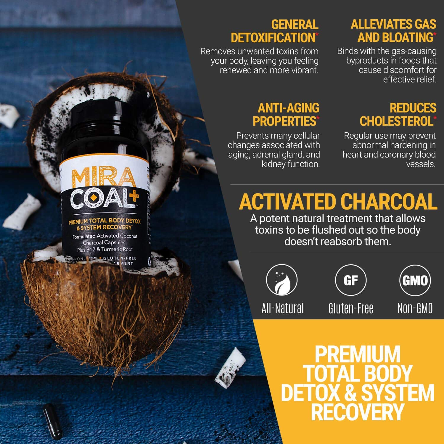 Miracoal Activated Charcoal Capsules for Detox - Turmeric Root for Inflammation | Vitamin B12 for Boosted Energy | Organic, Non GMO and Gluten by Miracoal (Image #5)