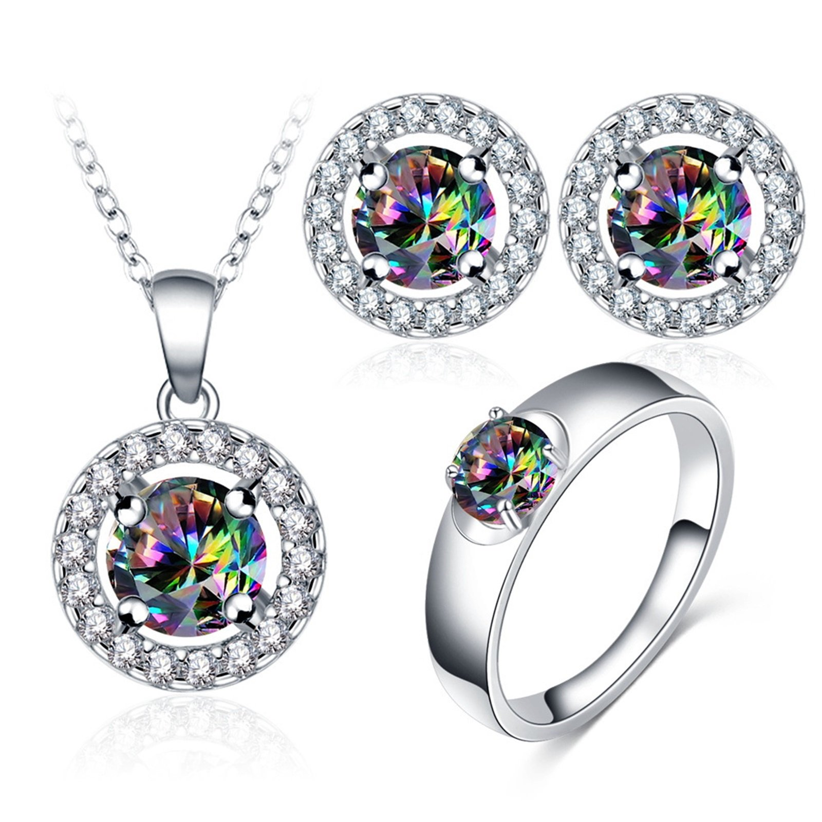 Daesar Necklace Earrings Ring Jewelry Set for Women Cubic Zirconia Colorful Silver Ring Size 8