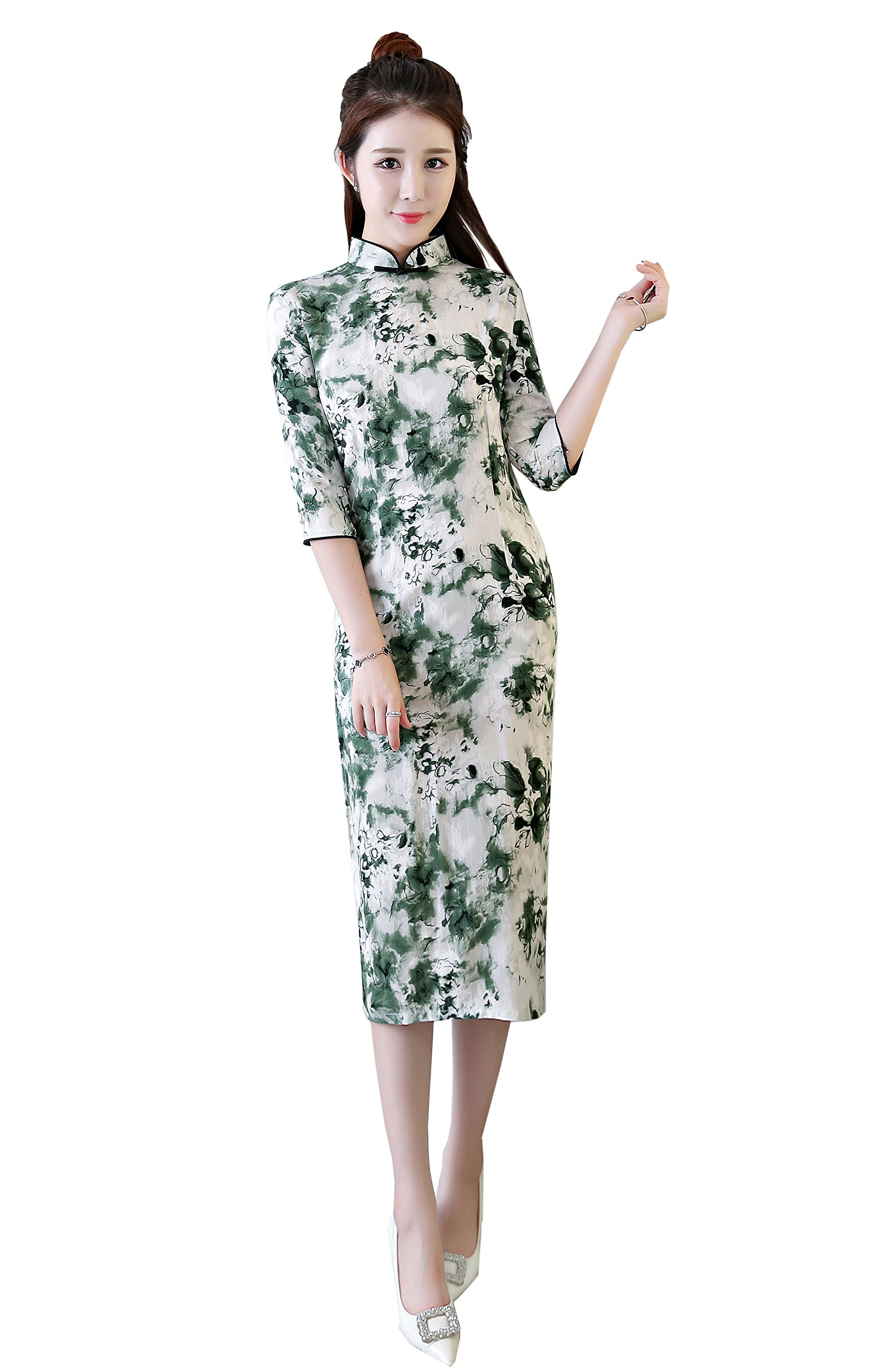 ACVIP Womens Flower Print Cotton Polyester Half Sleeve Chinese Cheongsam Qipao Party Dress (US 10/12(China 3XL), Green Flower)