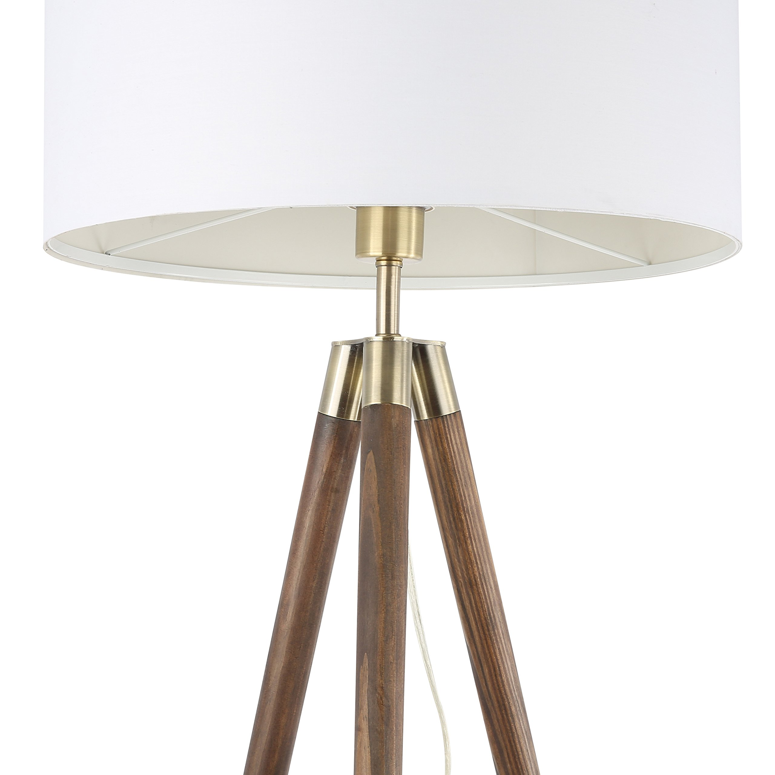 Light Society Celeste Tripod Floor Lamp, Walnut Wood Legs with Antique Brass Finish and White Fabric Shade, Mid Century Contemporary Modern Style (LS-F233-WAL) by Light Society (Image #3)